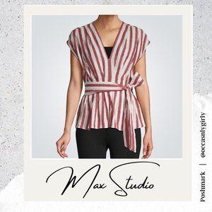 Max Studio Vertical Stripe V-Neck Faux Wrap Top